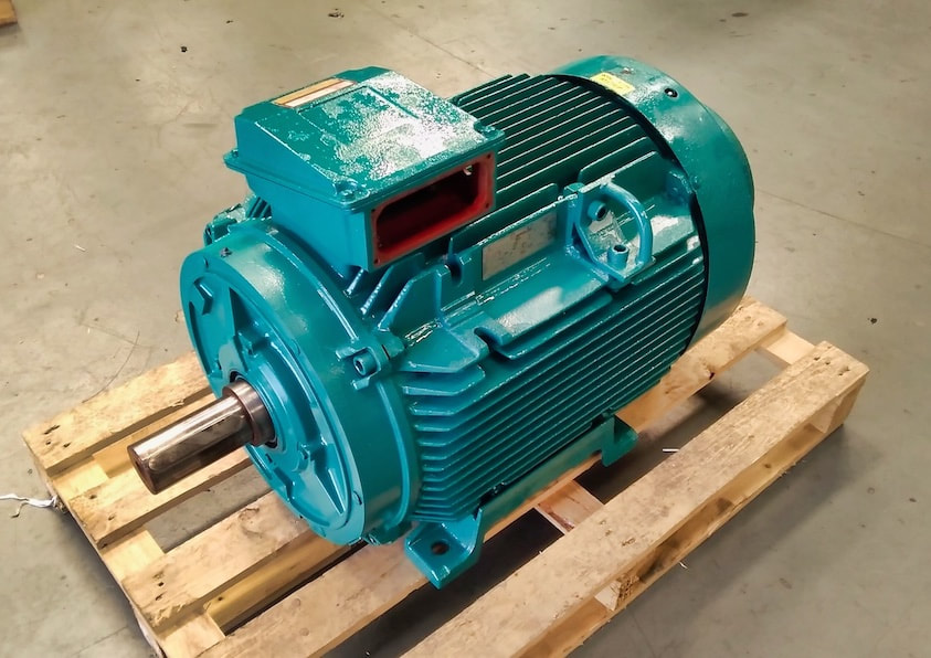 The dye house motor repaired and ready to be returned to the customer